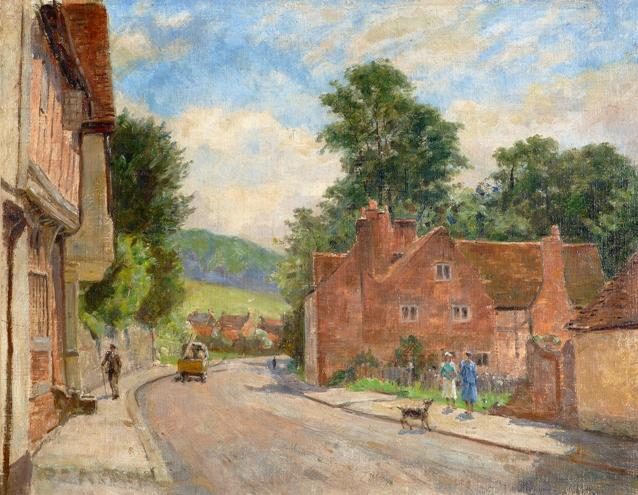The High Street, West Wycombe, looking towards the Pedestal and Branch Wood at Downley, by Walter Stamps