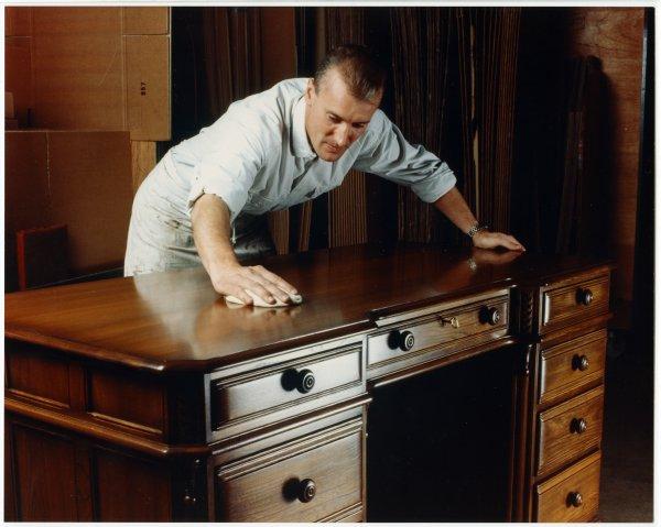Polishing an Ercol table